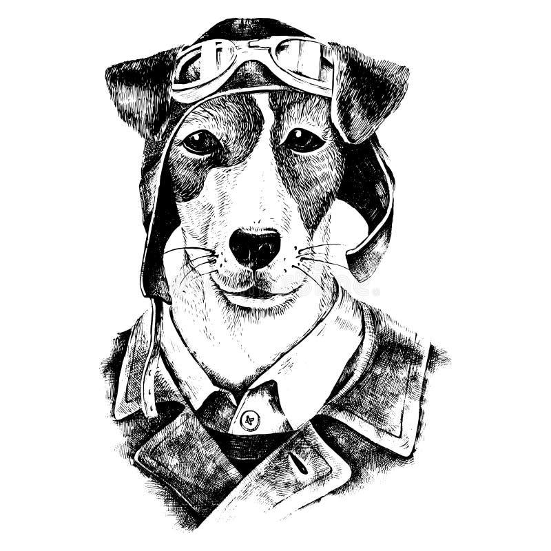 Para arriba vestido aviador dibujado mano del perro stock de ilustración