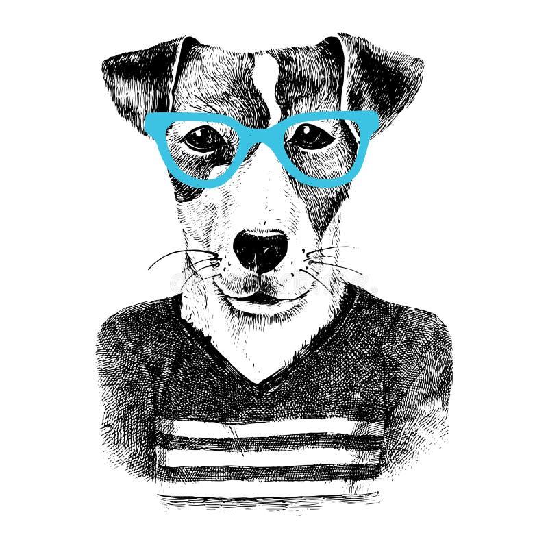 Para arriba vestido perro en estilo del hipter ilustración del vector