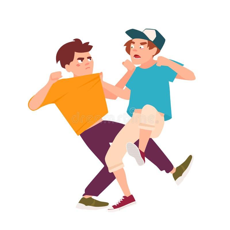 Para av att slåss barn Konflikt mellan ungar, våldsamt uppförande bland tonåringar, våld på skola cartoon stock illustrationer