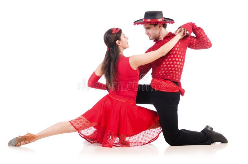 Para av isolerade dansare royaltyfri foto