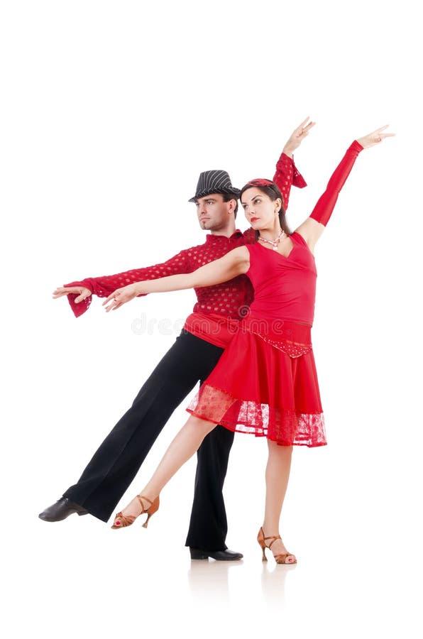 Para av isolerade dansare royaltyfria foton