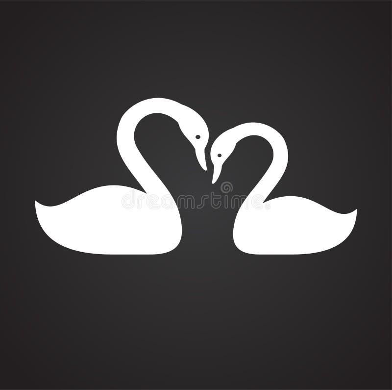 Para av svanar som är förälskade på svart bakgrund stock illustrationer