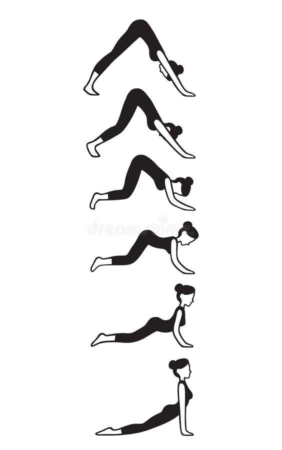 Para baixo para cima a enfrentar o fluxo da ioga do cão ilustração royalty free