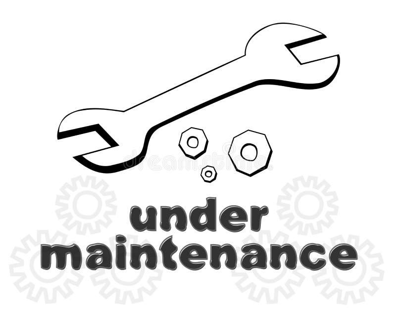 Para baixo para a mensagem da página do Web site da manutenção ilustração do vetor