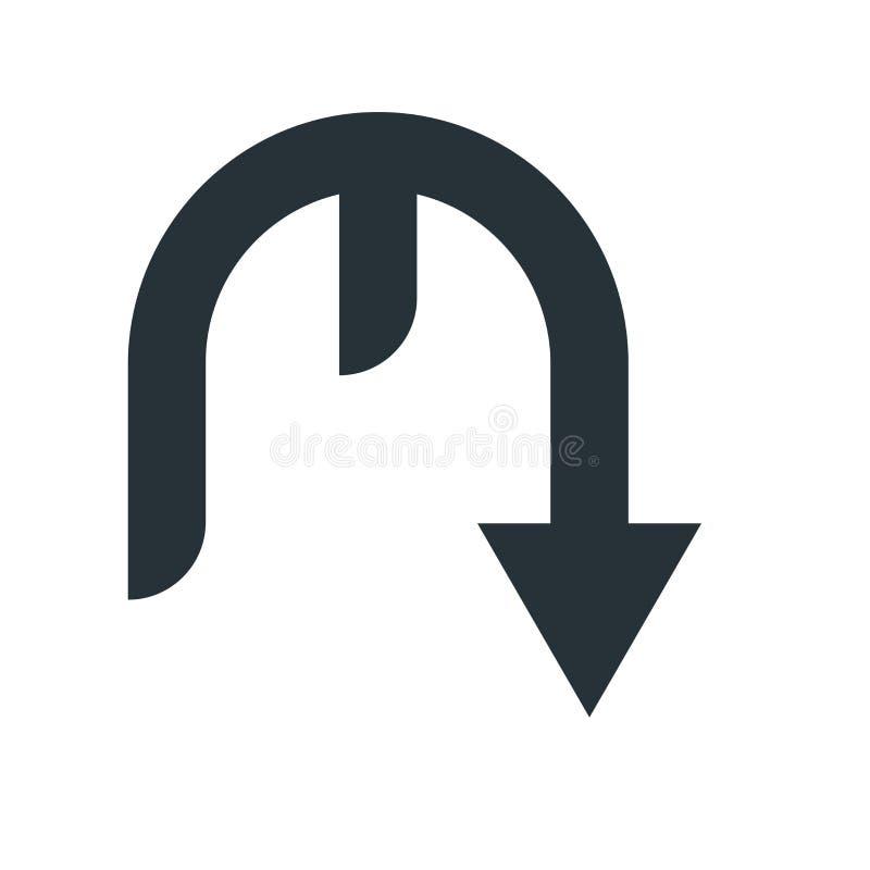 Para baixo sinal e símbolo do vetor do ícone da seta isolados no backgro branco ilustração royalty free
