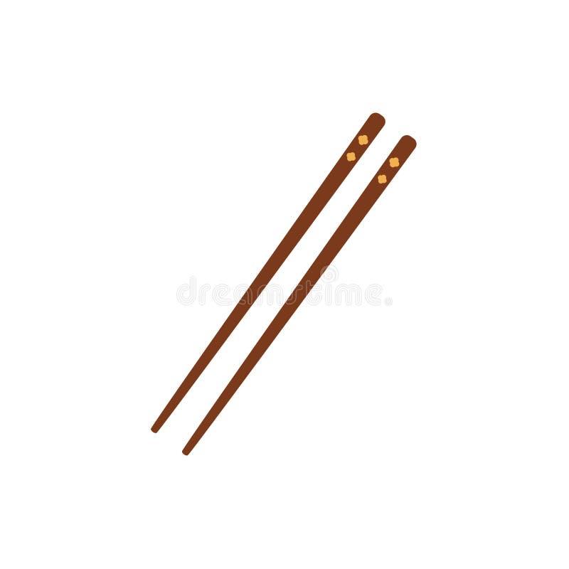 Para bambusowy azjata, chińczyk, Japońscy chopsticks ilustracji