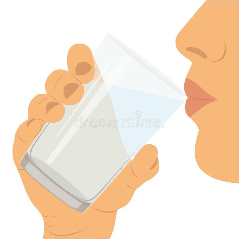 Para beber el agua Un vidrio con agua Forma de vida sana stock de ilustración