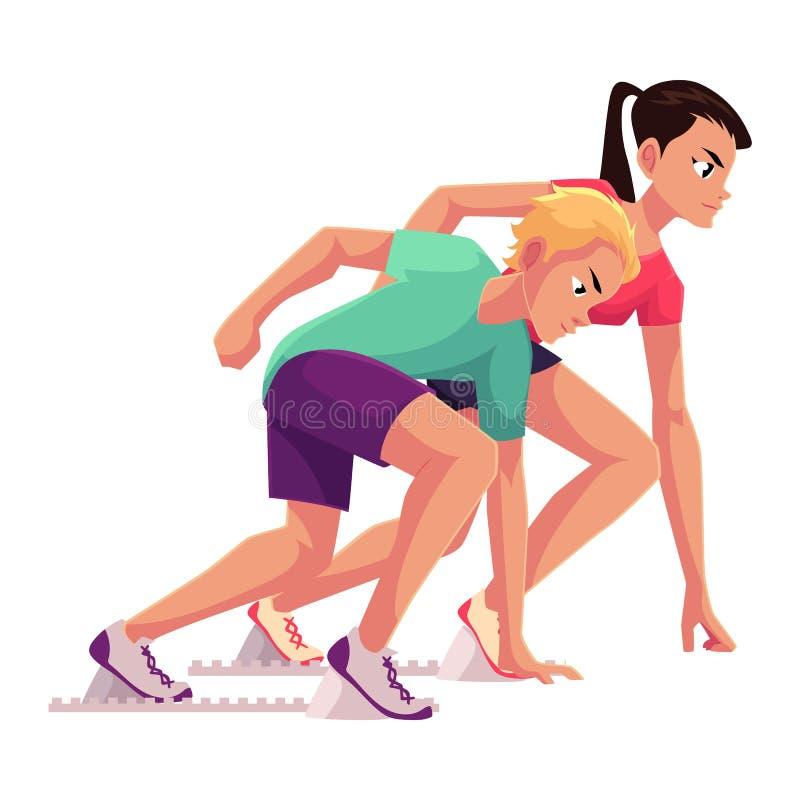 Para biegacze, szybkobiegacze przygotowywający zaczynać, biegający blok ilustracja wektor