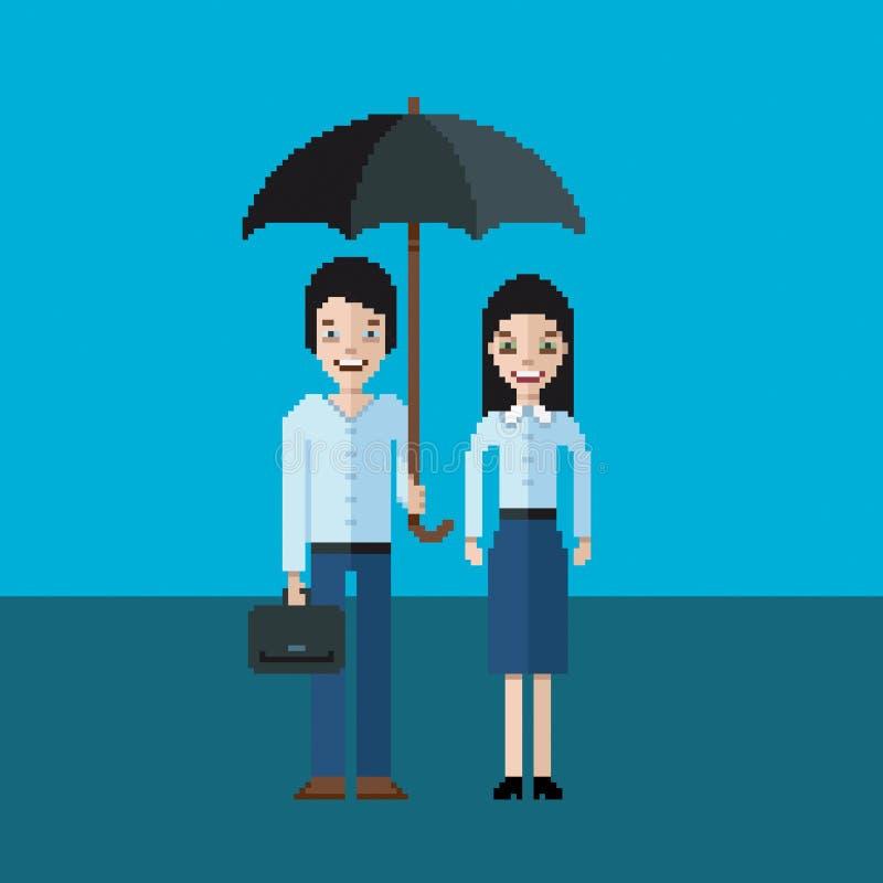 Para biznesmeni - mężczyzna i kobiety pozycja pod parasolem, piksel sztuki ilustracja ilustracji