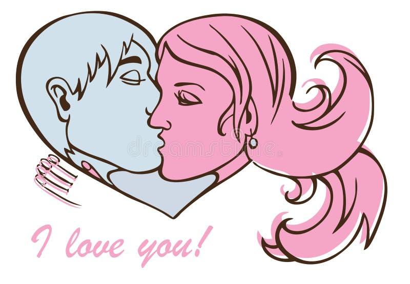Para buziak w sercu royalty ilustracja