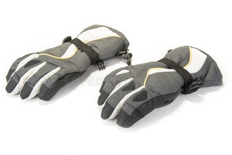 Para ciepłe zim rękawiczki na bielu zdjęcia royalty free
