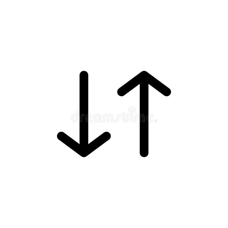 Para cima e para baixo o ícone da seta Elemento do ícone do curso para apps móveis do conceito e da Web Detalhado para cima e par ilustração royalty free