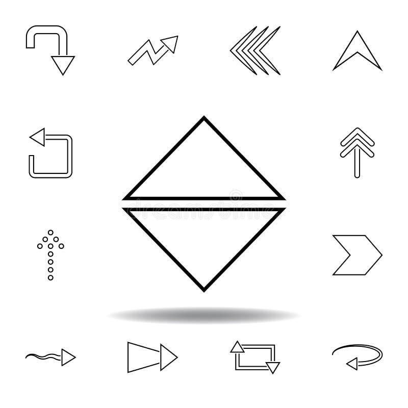 para cima e para baixo o ?cone do sentido da seta Linha fina ícones ajustados para o projeto do Web site e o desenvolvimento, des ilustração royalty free