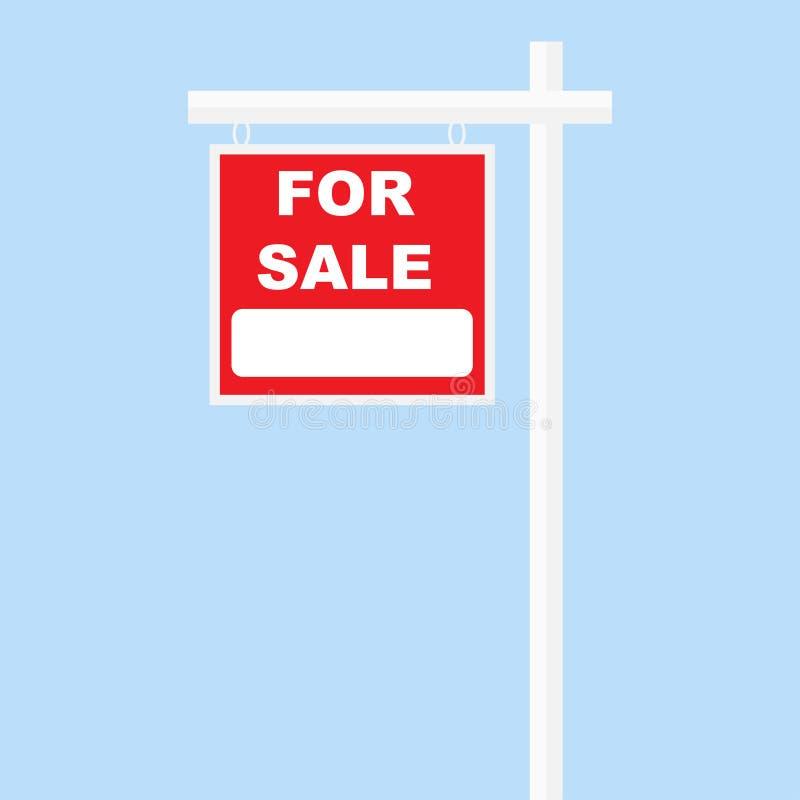 Para a coluna branca da placa vermelha do sinal da venda ilustração do vetor
