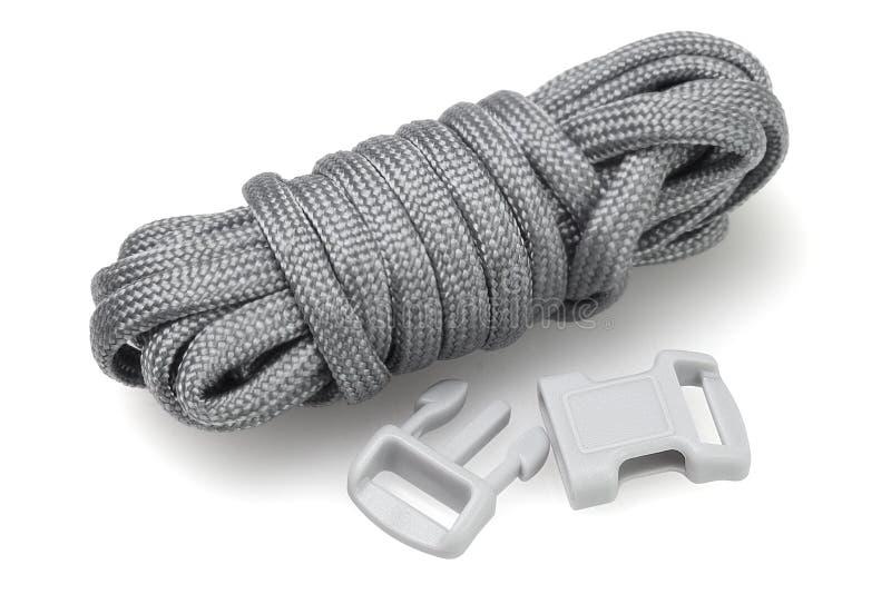 Para Cord Survival Bracelet Kit. On White Background royalty free stock photos