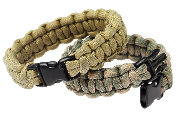 Para Cord Survival Bracelets stock images