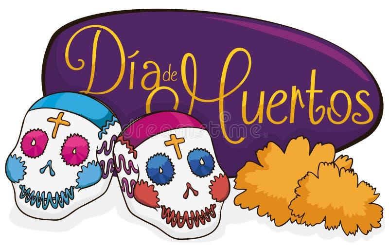 Para Cukrowe czaszki z nagietkami dla Dia De Muertos, Wektorowa ilustracja royalty ilustracja