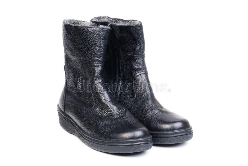 Para czarni rzemienni buty dla mężczyzna na bielu zdjęcie stock