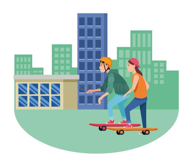 Para dalej jeździć na deskorolce krańcową sport kreskówkę ilustracja wektor
