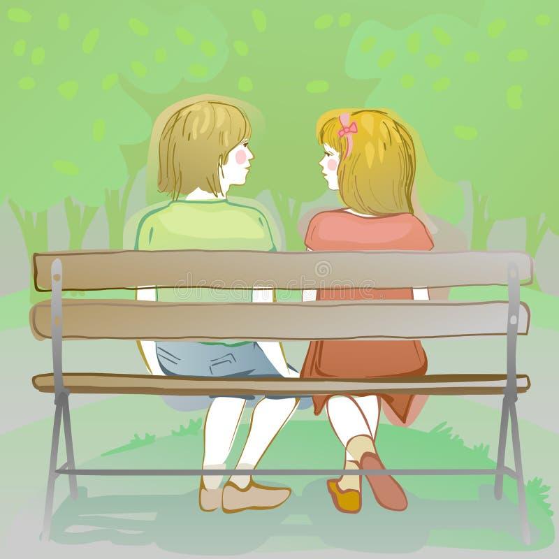 para dzieciaki siedzi na parkowej ławce royalty ilustracja