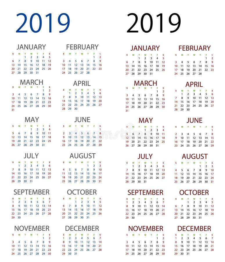 2019 para el mejor calendario libre illustration