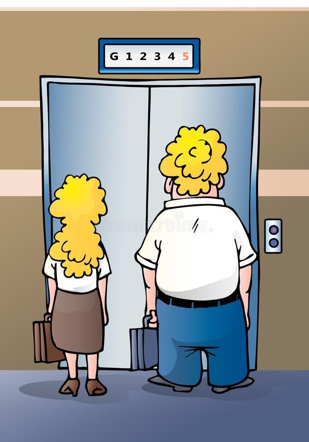 Para elevador que espera ilustración del vector