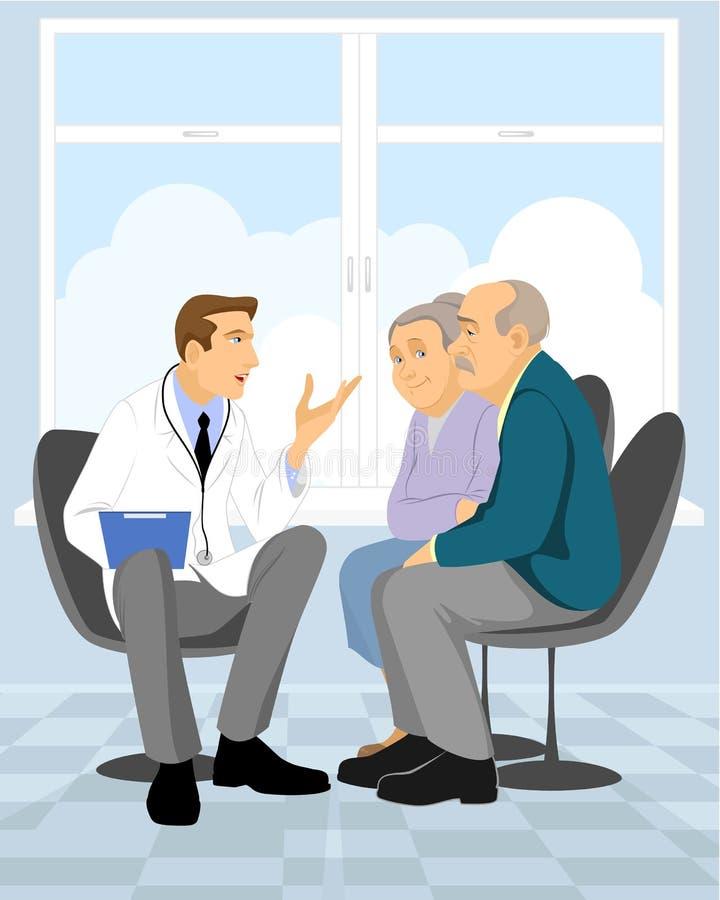 Para emeryt w klinice royalty ilustracja