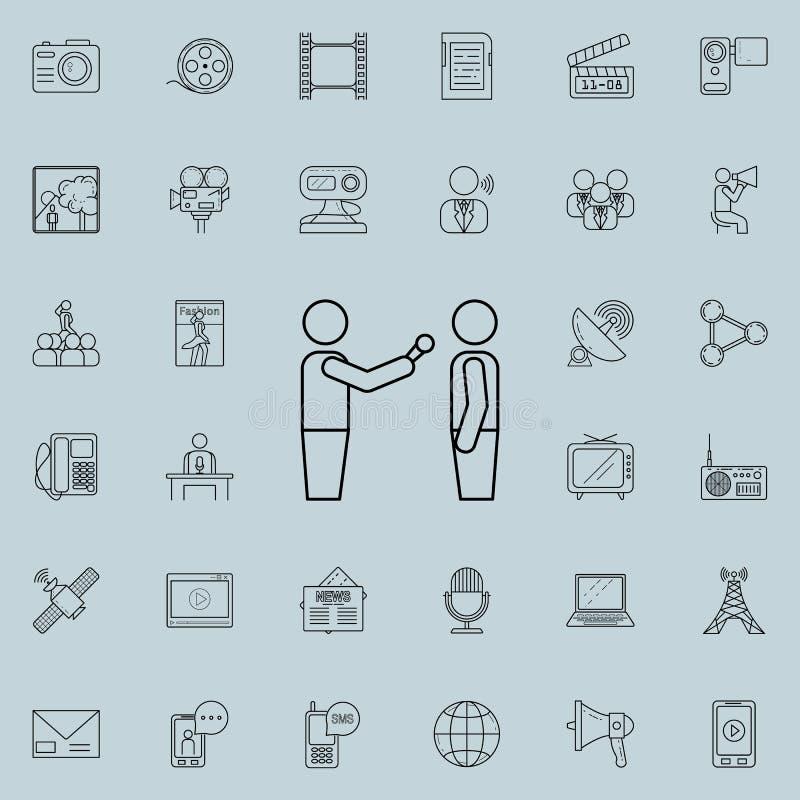 para entrevistarse con el icono Sistema detallado de medios iconos Muestra superior del diseño gráfico de la calidad Uno de los i libre illustration