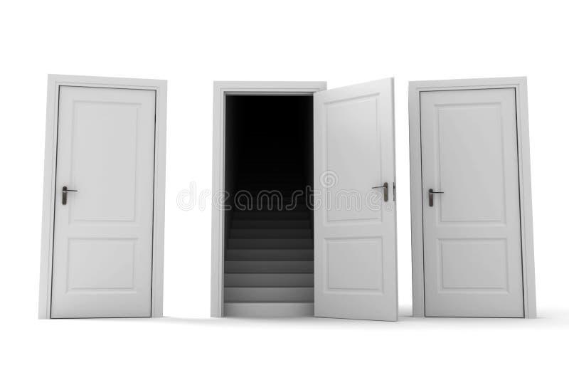 Para escolher portas corretas. ilustração stock