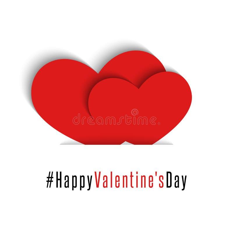 Para för valentindagen för röda hjärtor det lyckliga kortet, vykort för modellferiehälsning, älska romantisk bakgrund stock illustrationer