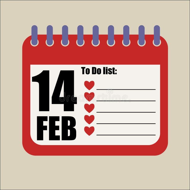 Para fazer 14 de fevereiro a lista romântica esvazie ilustração royalty free