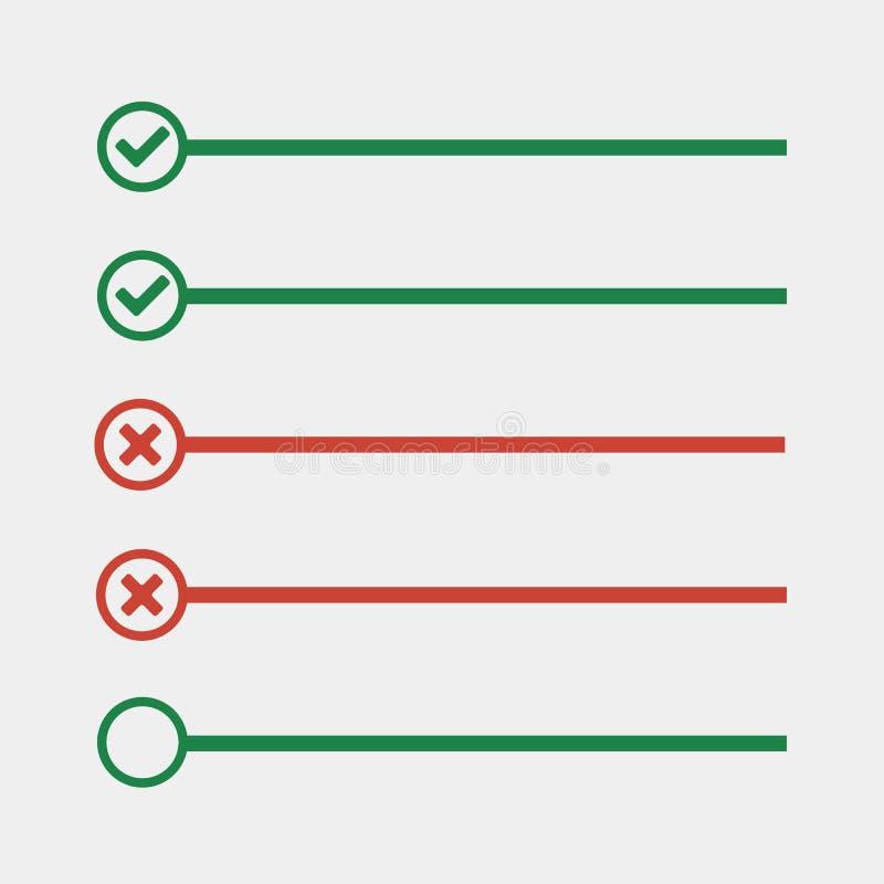 Para fazer linhas da lista com caixas de verificação lista de verificação para a nota verifique o miliampère ilustração do vetor