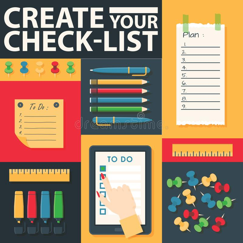 Para fazer a lista ou a ilustração planejando do vetor do conceito do ícone Crie sua tabuleta da lista de verificação com as marc ilustração royalty free