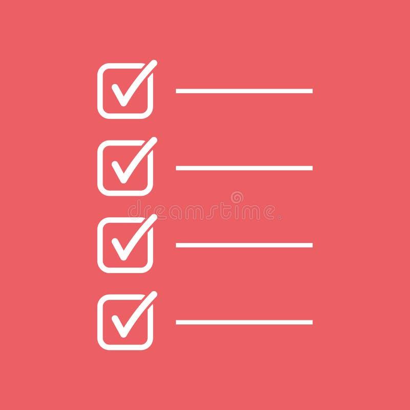 para fazer o ícone da lista Lista de verificação, ilustração do vetor da lista de tarefa no fla ilustração royalty free