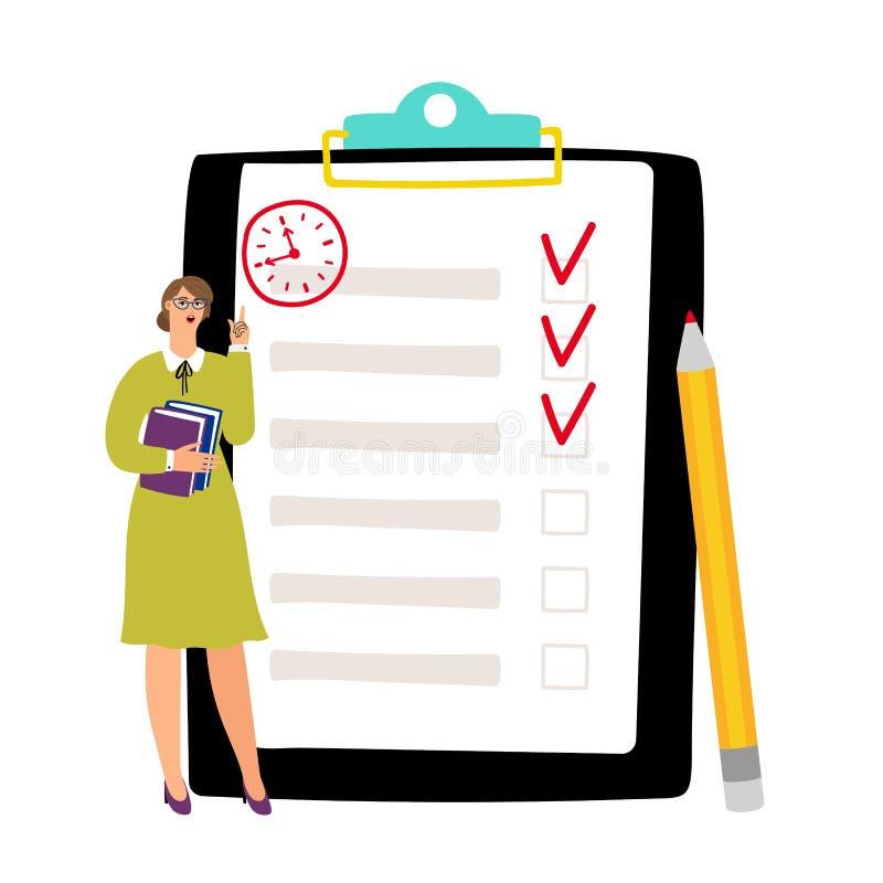 Para fazer o conceito da lista Fim do prazo desabotoado da lista de verificação, ilustração pobre do vetor da gestão de tempo ilustração do vetor