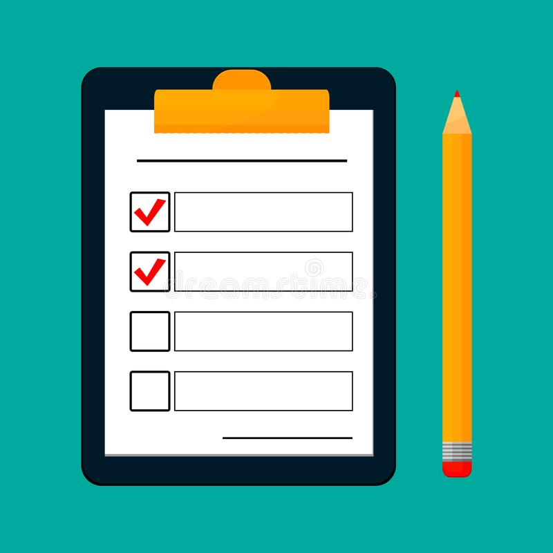 Para fazer o conceito da lista ou do planeamento para o negócio Prancheta, avaliação ou teste com nota, prancheta com originais c ilustração do vetor