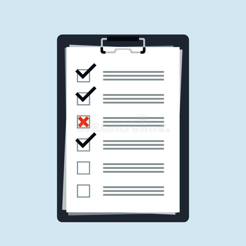 Para fazer o logotipo liso do ícone do conceito da lista ou do planeamento Lista de verificação para o negócio, programação com n ilustração stock
