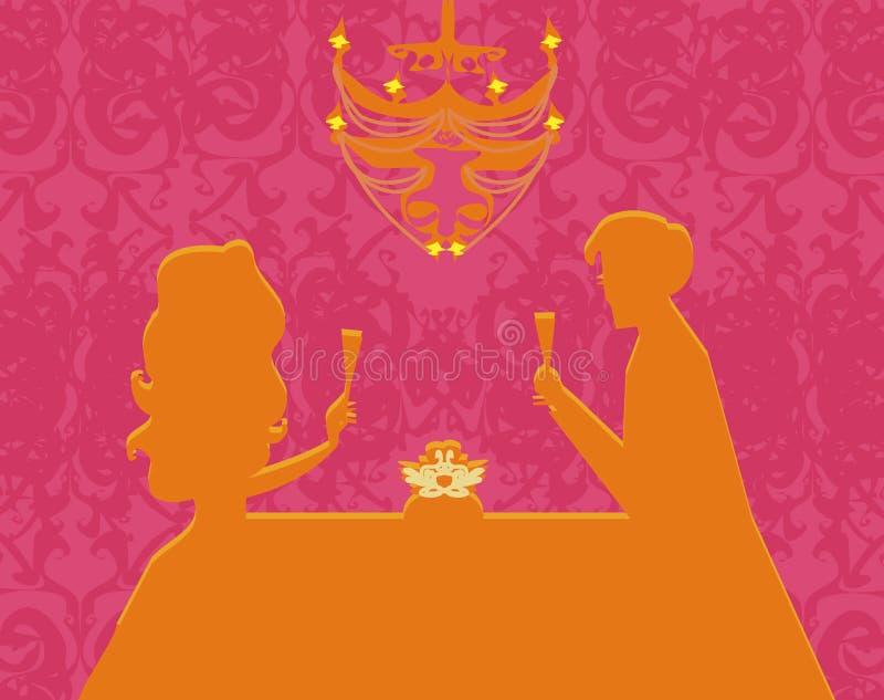 Para flirt i napoju szampan ilustracja wektor