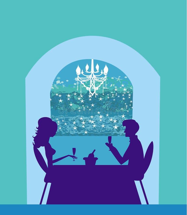 para flirt i napoju szampan ilustracji