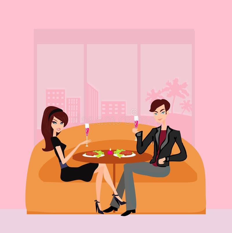 Para flirt i napoju szampan royalty ilustracja