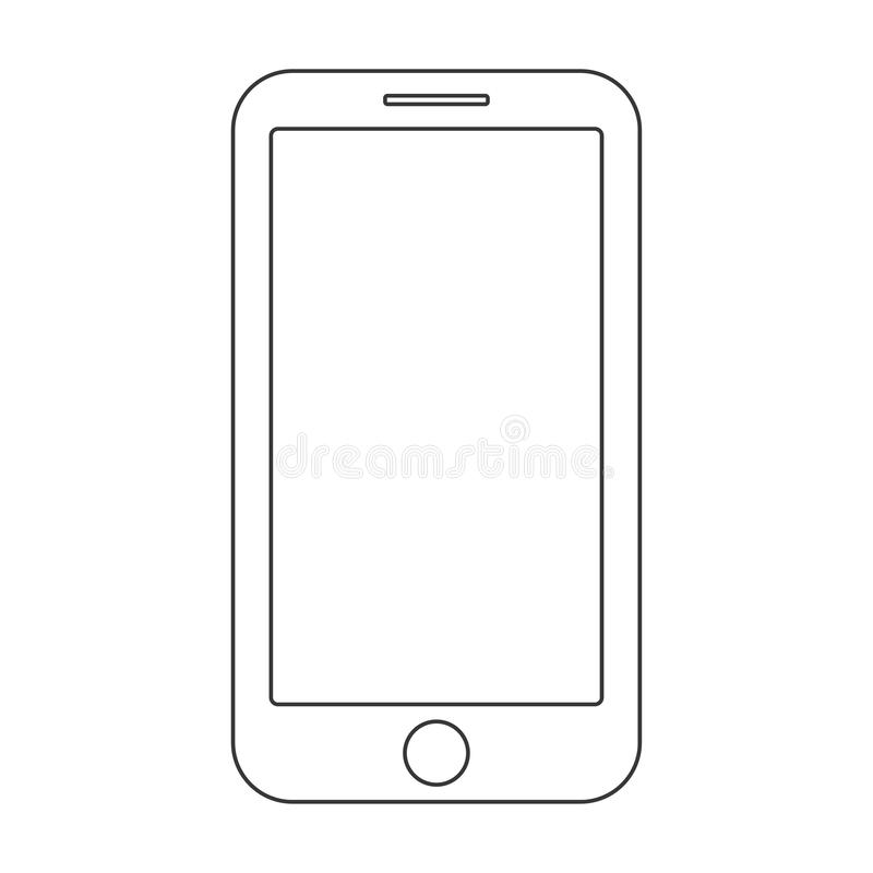 Para fora linhas pretas smartphone com bot?o do menu e a tela vazia no vetor branco do fundo Sinal do esbo?o do telefone celular ilustração stock
