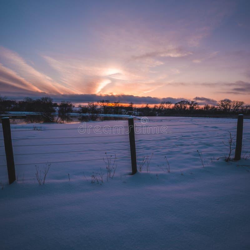 Para fora no campo durante o por do sol foto de stock