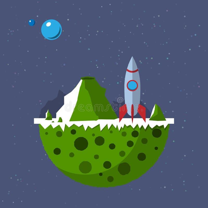 Para fora plano distante com o foguete de espaço do espaço ilustração stock