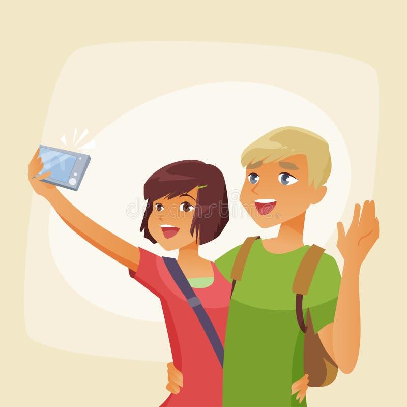 Download Para Fotografuje Selfie Na Wakacje Ilustracja Wektor - Ilustracja złożonej z dziewczyna, chłopak: 57664411