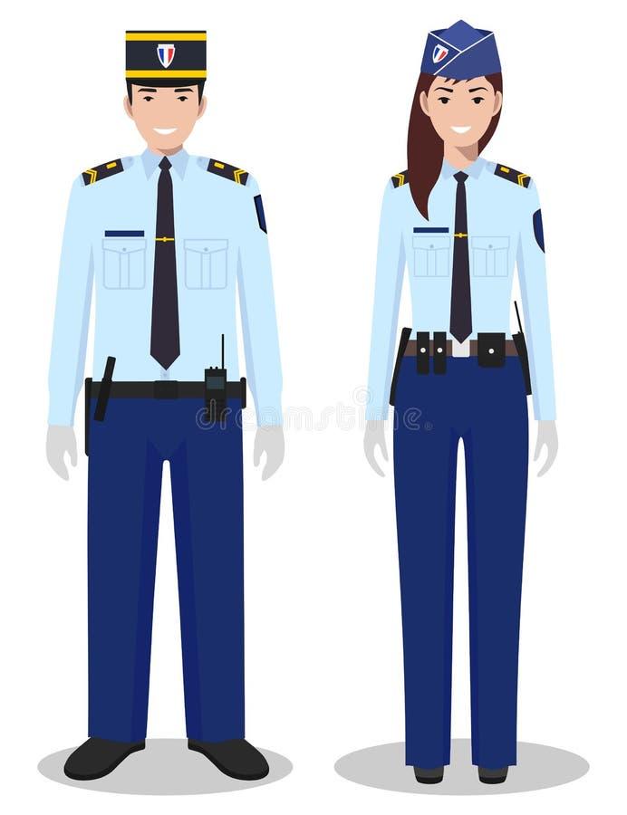 Para francuski policjant i policjantka w tradycyjnych mundurach stoi wpólnie na białym tle w mieszkanie stylu ilustracja wektor