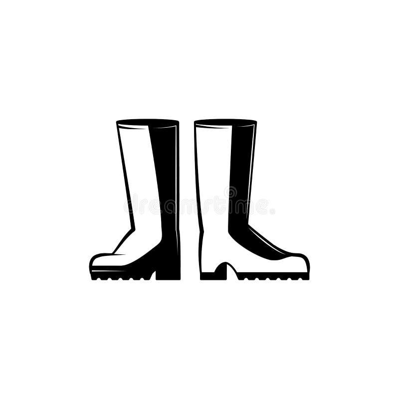 Para gumowych butów monochromatyczna sylwetka - ochronni gospodarstwo rolne buty dla rolniczych prac ilustracja wektor