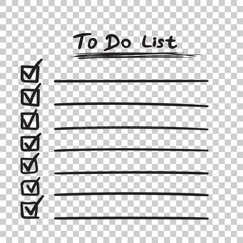 Para hacer el icono de la lista con la mano dibujada mande un SMS Lista de control, vecto de la lista de tarea ilustración del vector