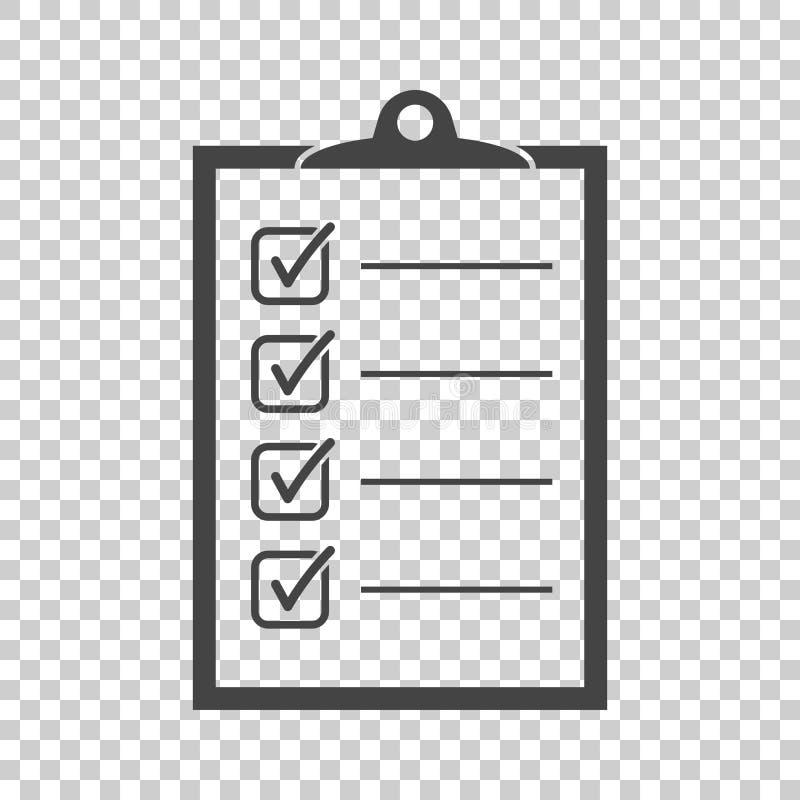 para hacer el icono de la lista Lista de control, ejemplo del vector de la lista de tarea en fla ilustración del vector