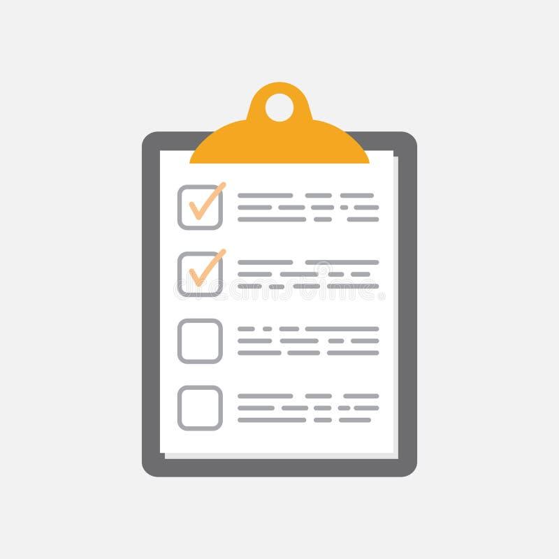 para hacer el icono de la lista Lista de control, ejemplo del vector de la lista de tarea en fla stock de ilustración