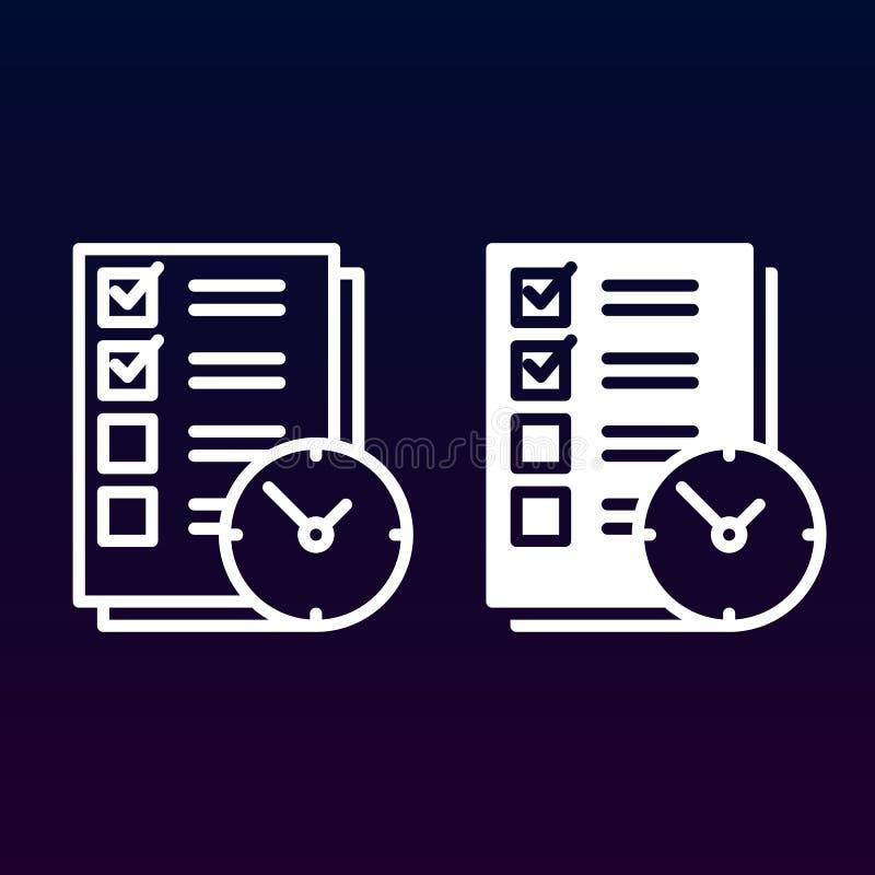 Para hacer la lista con el reloj alinee e icono sólido, resuma y llenó el pictograma de la muestra del vector, linear y lleno ais libre illustration